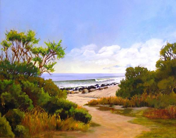 Wave Art Print featuring the painting El Capitan Beach by Dorothy Nalls