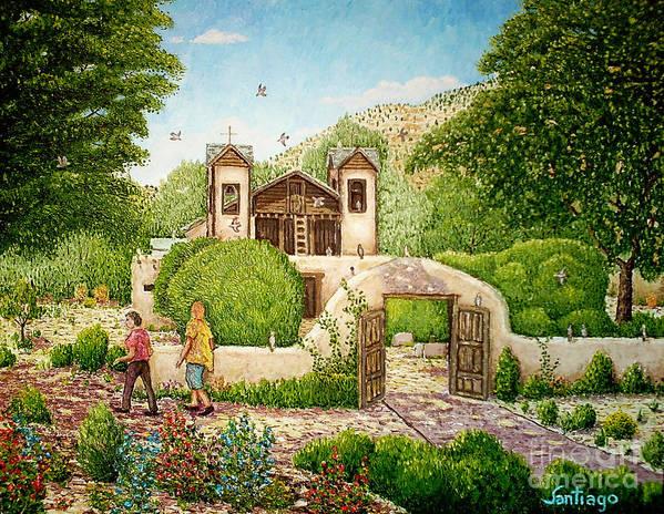 Chimayo Churches Art Print featuring the painting El Santuario De Chimayo by Santiago Chavez
