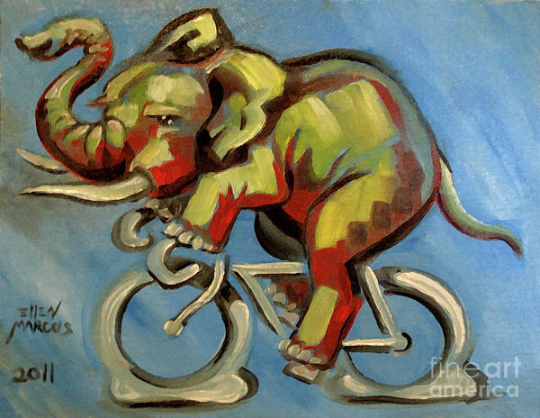 Elephas Maximus Art Print featuring the painting Elephas Maximus On A Bicycle by Ellen Marcus