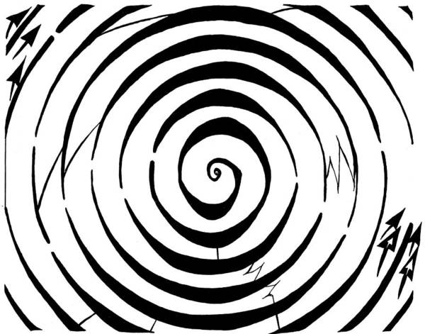 Maze Art Print featuring the drawing Eliptical Maze by Yonatan Frimer Maze Artist