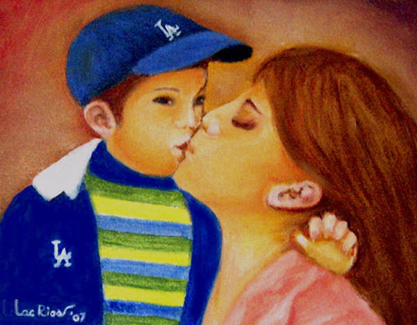 Potrait Art Print featuring the painting Eric And Mom, 8x10, Oil, '07 by Lac Buffamonti
