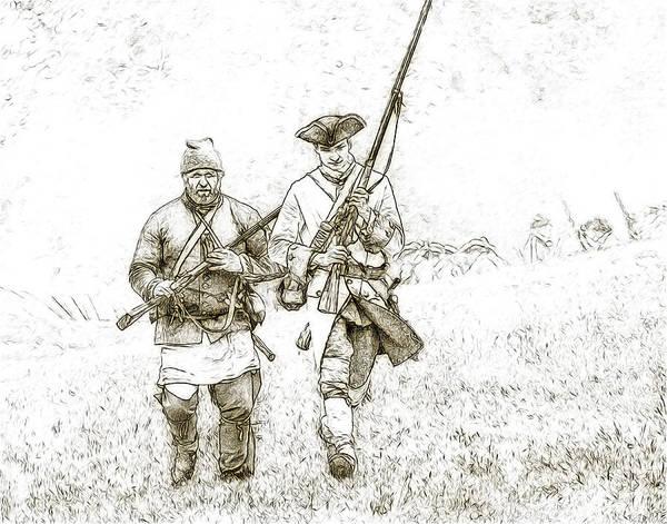 War Art Print featuring the digital art Face Of Danger Soldier Sketch by Randy Steele