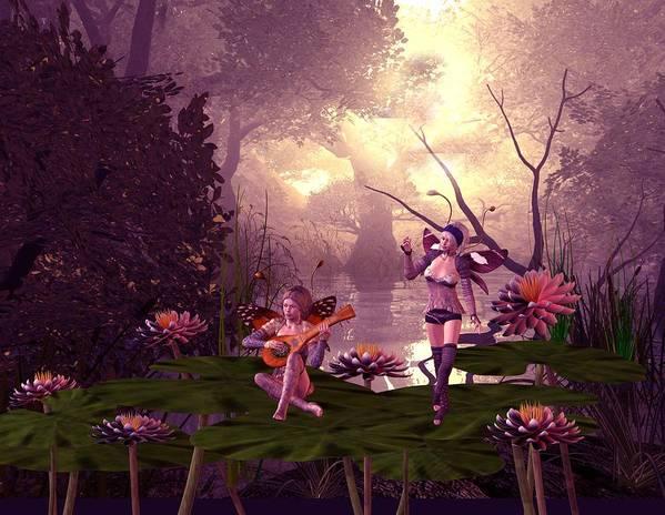 Fantasy Art Print featuring the digital art Fairies At A Pond by John Junek