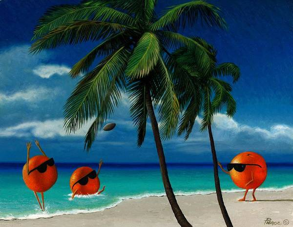Oranges Painting Palm Trees Ocean Blue Sky Sunglasses Football Fantasy Art Print featuring the painting Fantasy-oranges Playing Football by Daniel Pierce