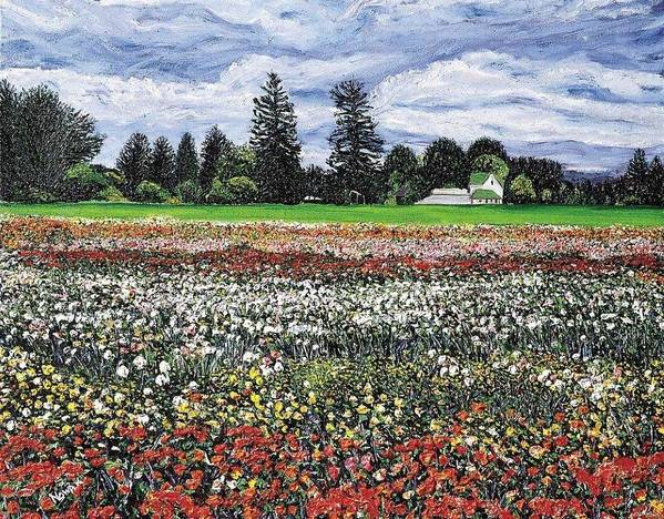 Flowers Art Print featuring the painting Field Of Flowers by Richard Nowak