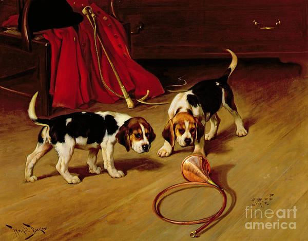 Beagle; Hound; Crop; Whip; Horn; Puppies; Hunt Art Print featuring the painting First Introduction by Wright Barker