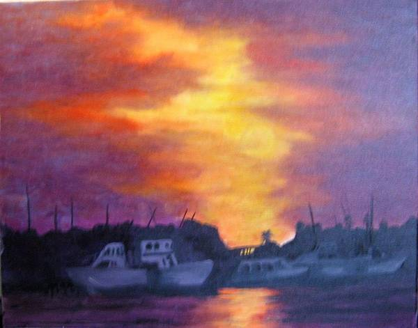 Sunset Art Print featuring the painting Florida Keyes Sunset by Colleen DalCanton