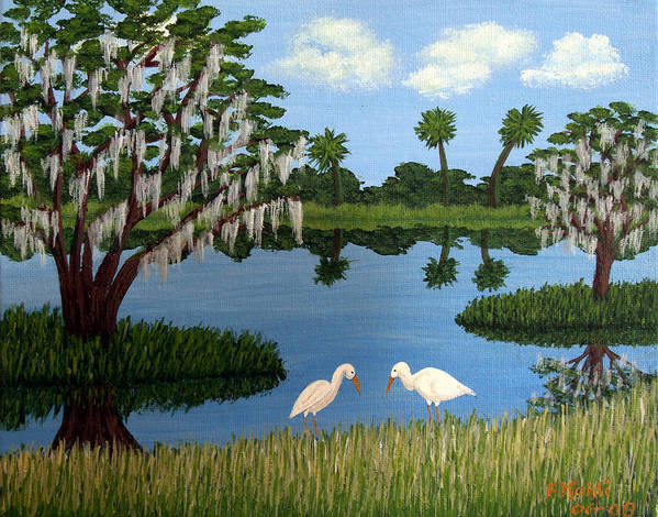Landscape Paintings Art Print featuring the painting Florida Wetlands by Frederic Kohli