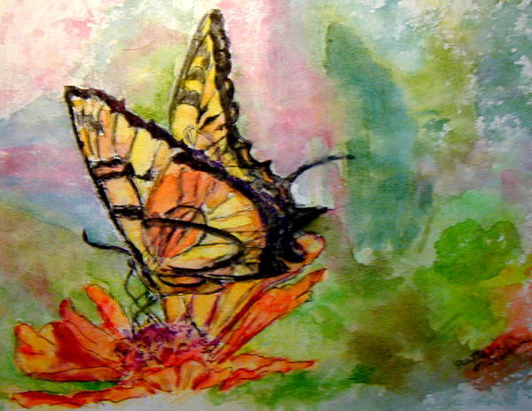 Butterfly Art Print featuring the painting Flutterby - Watercolor by Donna Hanna