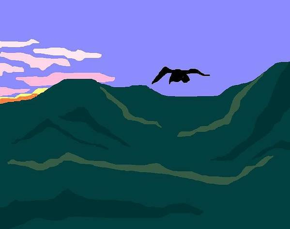 Landscape Art Print featuring the digital art Flying Inland by Carole Boyd