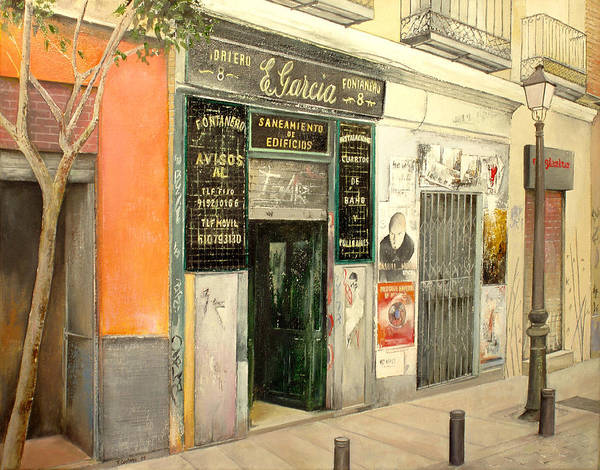 Streetscene Art Print featuring the painting Fontaneria E.garcia by Tomas Castano