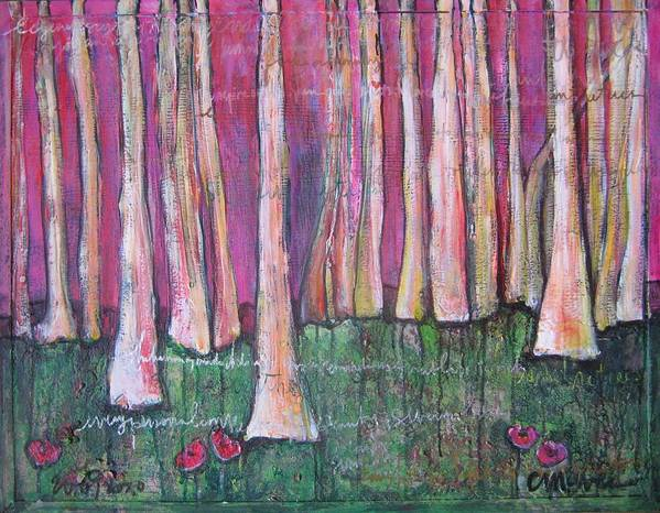 Aspen Trees Art Print featuring the painting For Page Turner by Laurie Maves ART