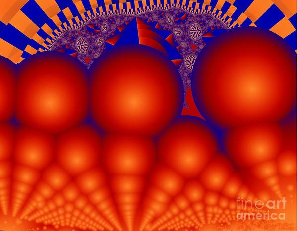 Fractal Image Art Print featuring the digital art Formation Of Red Orbs by Ron Bissett