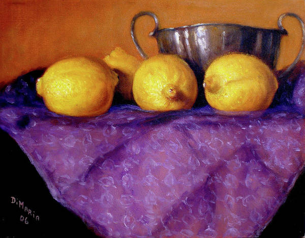 Realism Art Print featuring the painting Four Lemons by Donelli DiMaria