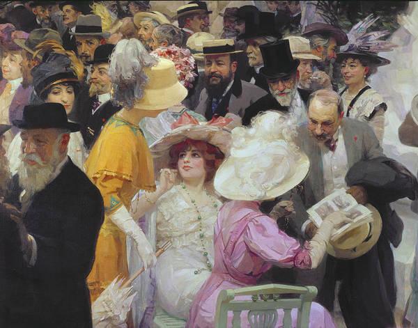Friday At The French Artists Salon Art Print featuring the painting Friday At The French Artists Salon by Jules Alexandre Grun