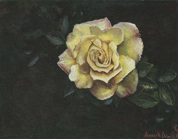 Rose Art Print featuring the painting Garden Rose by Jeff Brimley