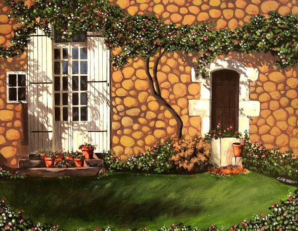 Garden Art Print featuring the painting Garden Wall by Daniel Carvalho