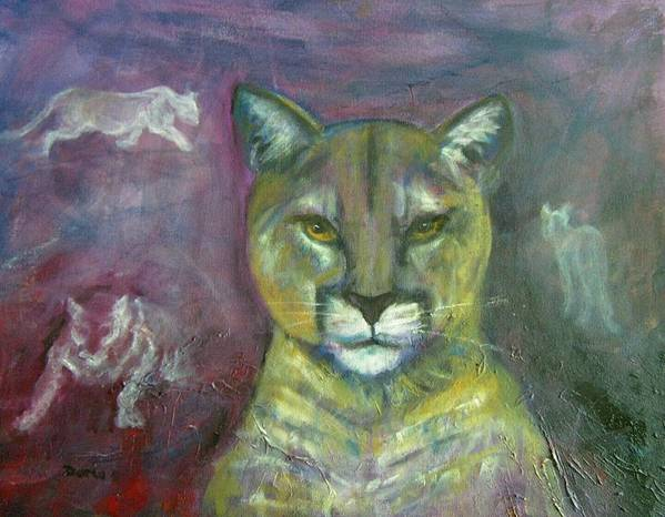 Wildlife Art Print featuring the painting Ghost Cat by Darla Joy Johnson