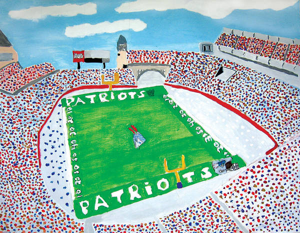 Gillette Stadium Art Print featuring the painting Gillette Stadium by Jeff Caturano