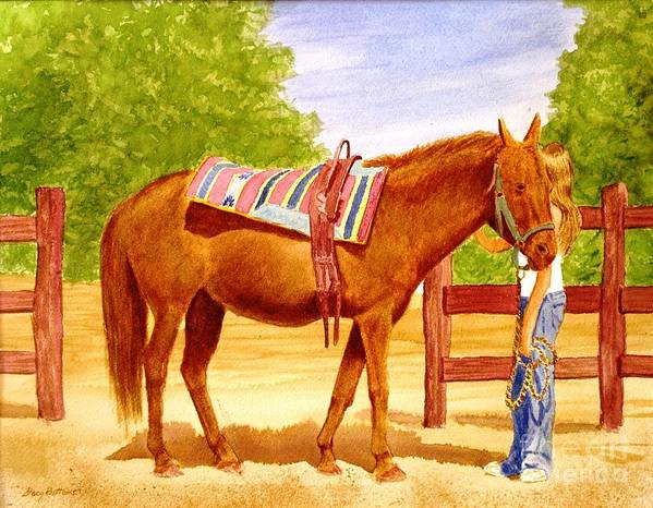 Equine Art Print featuring the painting Girl Talk by Stacy C Bottoms