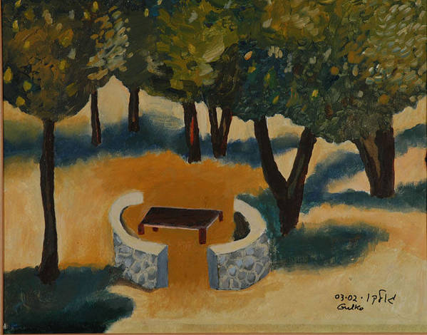 Picnic Countryside Art Print featuring the painting Golan Picnic Area  by Harris Gulko