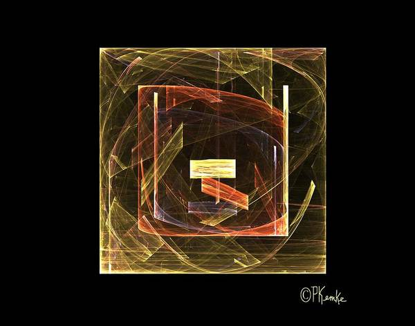 Abstract Art Print featuring the digital art Golden Cube by Patricia Kemke