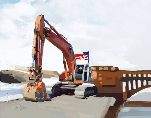 Bulldozers Art Print featuring the painting Golden Gate One by Brad Burns