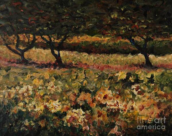 Landscape Art Print featuring the painting Golden Sunflowers by Nadine Rippelmeyer