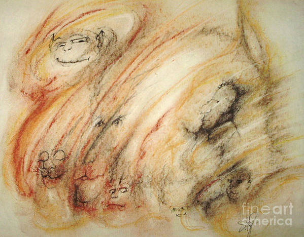 Surreal Art Print featuring the drawing Gollum Is Watching by Stephanie H Johnson