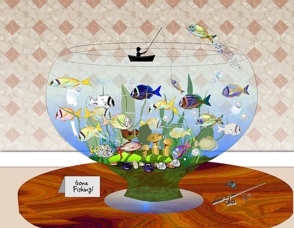 Fish Art Print featuring the digital art Gone Fishing by Arline Wagner