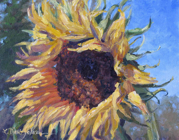 Sunflower Landscape Art Print featuring the painting Good Mornin by L Diane Johnson