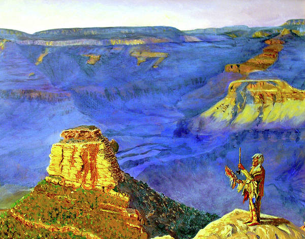Original Oil On Canvas Art Print featuring the painting Grand Canyon V by Stan Hamilton