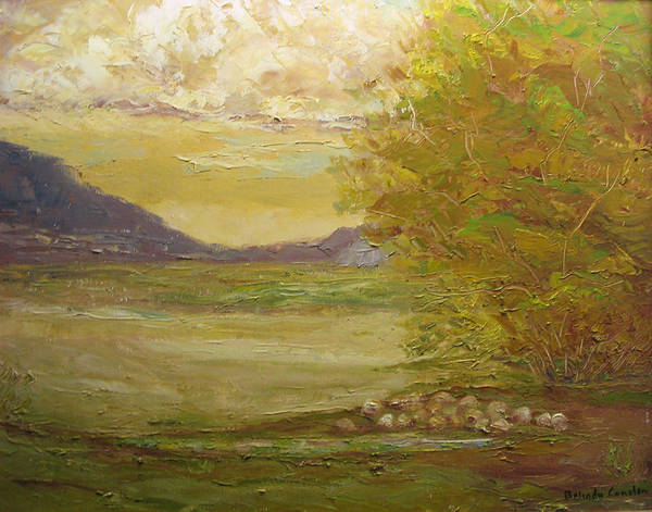 Landscape Art Print featuring the painting Grazing Sheep New Mexico Usa by Belinda Consten