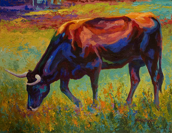 Longhorn Art Print featuring the painting Grazing Texas Longhorn by Marion Rose