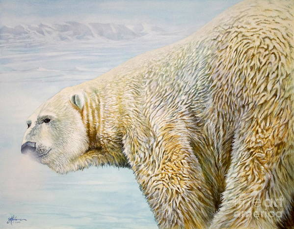 Bear Art Print featuring the painting Great White Hunter by Greg and Linda Halom