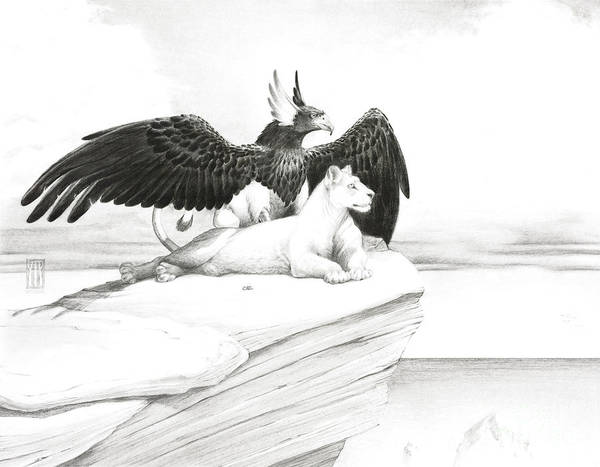 Griffin Art Print featuring the painting Griffin And Lioness by Melissa A Benson