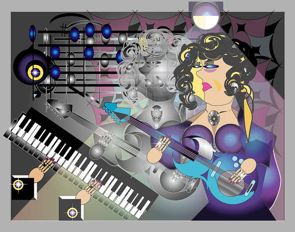 Music Art Print featuring the digital art Guitar Lady by George Pasini