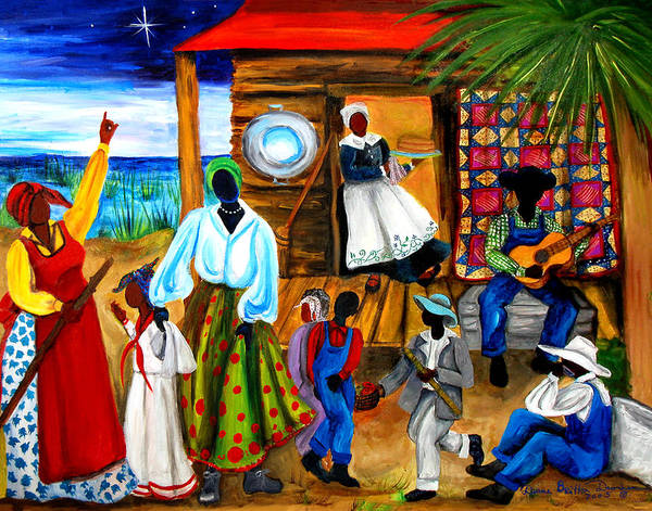Gullah Art Print featuring the painting Gullah Christmas by Diane Britton Dunham