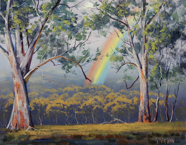 Rural Art Print featuring the painting Gums With Rainbow by Graham Gercken
