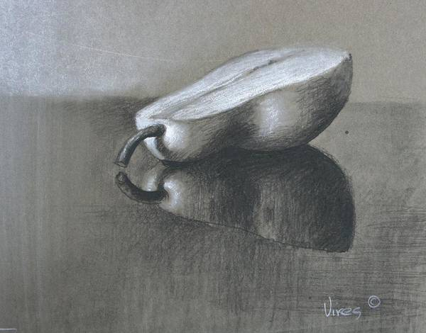 Charcoal On Paper Art Print featuring the drawing Half by Michael Vires