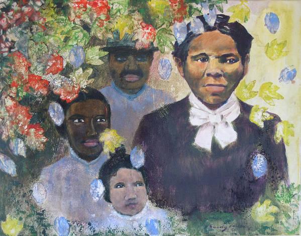 Harriet Tubman Art Print featuring the painting Harriet Tubman- Tears Of Joy Tears Of Sorrow by Art Nomad Sandra Hansen