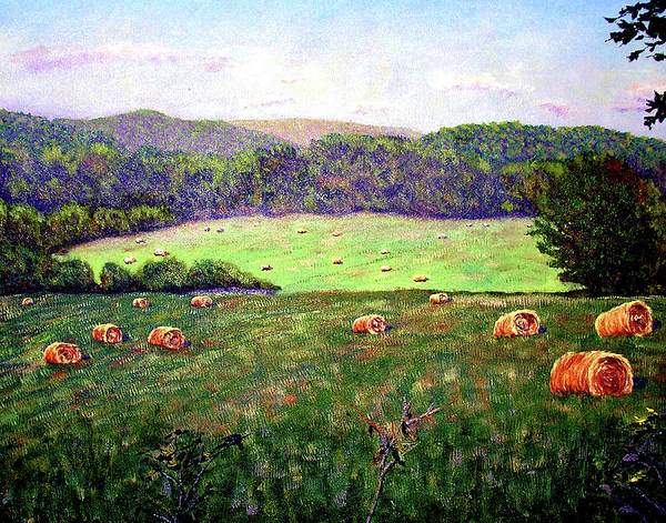 Original Oil On Canvas Art Print featuring the painting Hay Field by Stan Hamilton