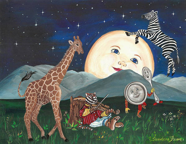 Zebra Art Print featuring the painting Hey Diddle Diddle by Sundara Fawn