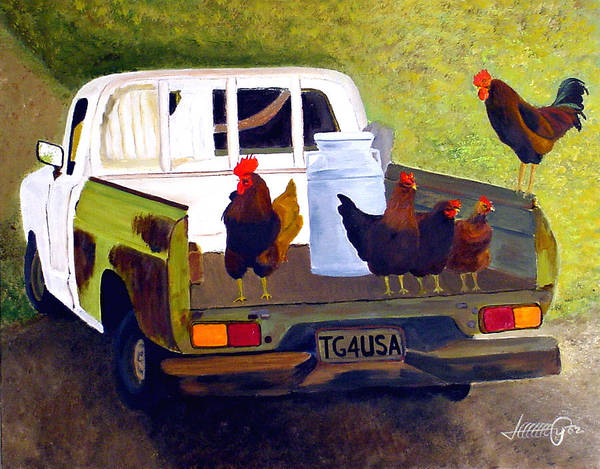 Truck Art Print featuring the painting Hitchin' A Ride To Town by JoeRay Kelley
