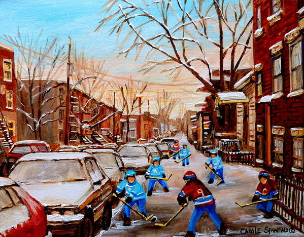 Montreal Art Print featuring the painting Hockey Gameon Jeanne Mance Street Montreal by Carole Spandau