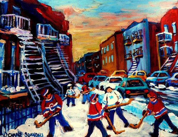 Montreal Art Print featuring the painting Hockey Paintings Of Montreal St Urbain Street City Scenes by Carole Spandau