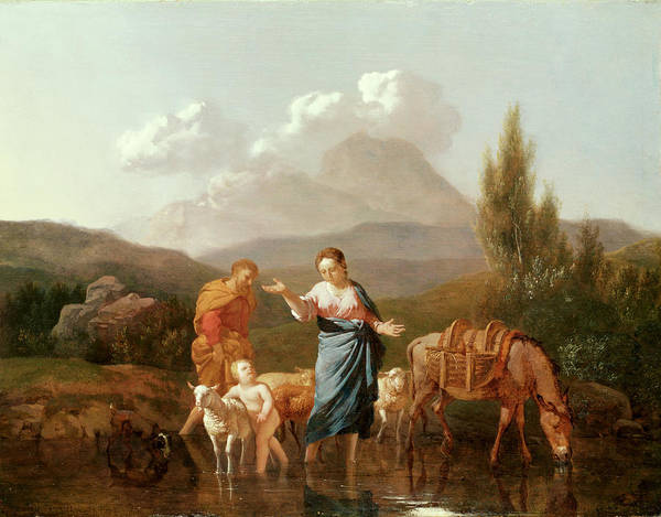 Holy Family At A Stream (oil On Canvas) By Karel Dujardin (c.1622-78) Print featuring the painting Holy Family At A Stream by Karel Dujardin