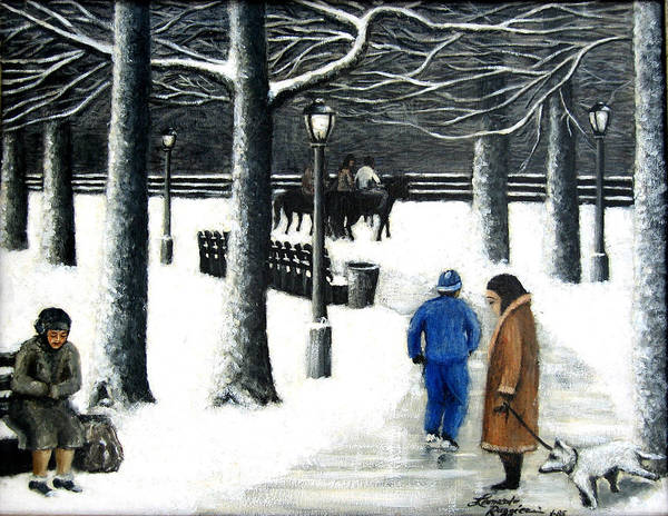 Ny City Art Print featuring the painting Homeless In Central Park by Leonardo Ruggieri