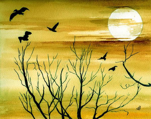 Landscape Watercolor Birds Ravens Crows Trees Sun Sunset Sky Clouds Art Print featuring the painting Homeward by Brenda Owen
