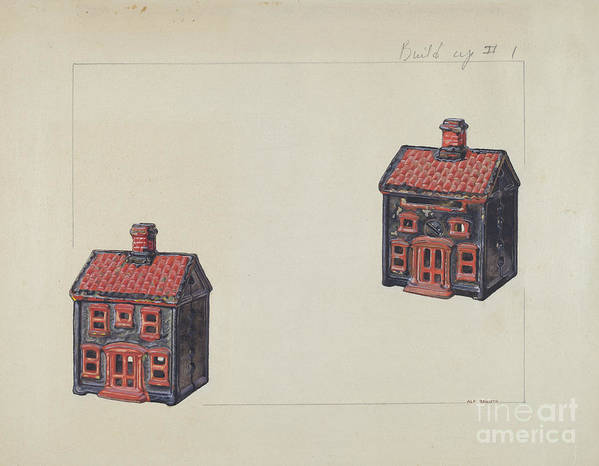 Art Print featuring the drawing House Coin Bank by Alf Bruseth